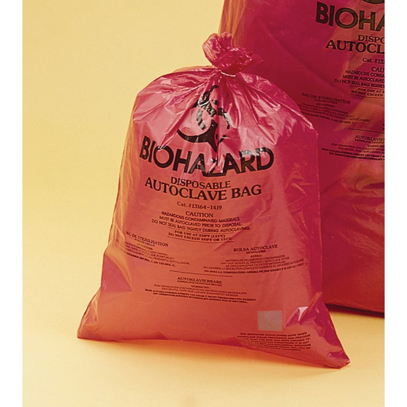 "13165-3748 Bel-Art Biohazard Bag , HDPE, 37"" W   X   48"" H, Red, 0.5 mm Thickness (Pack of 200)"