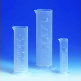 V642941 BrandTech Graduated Cylinder, 100 mL, Polypropylene, 163 mm Height, Circular Base, Molded Graduations (Pack of 12)