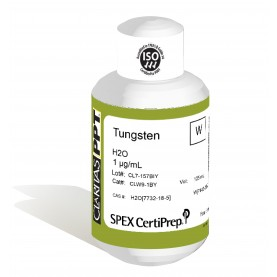 Claritas PPT Grade Tungsten for ICP-MS, 1 ug/mL (1 PPM), 125 mL, in H2O, SPEX Certiprep, CLW9-1BY