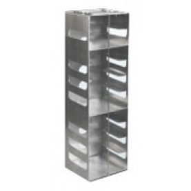 "Argos Technologies Aluminum Vertical Racks for Chest & Nitrogen Tanks for 2"" Cryoboxes, Holds 10 Boxes, Stainless Steel (1 Rack)"