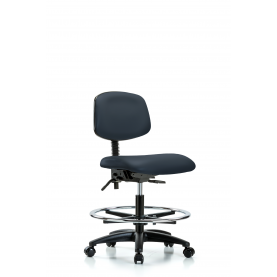 VMBCH-RG-T1-A0-CF-RC ECom Vinyl Office Chair for Medium Bench Height, Chrome Foot Ring, Casters, Seat Tilt, No Arms