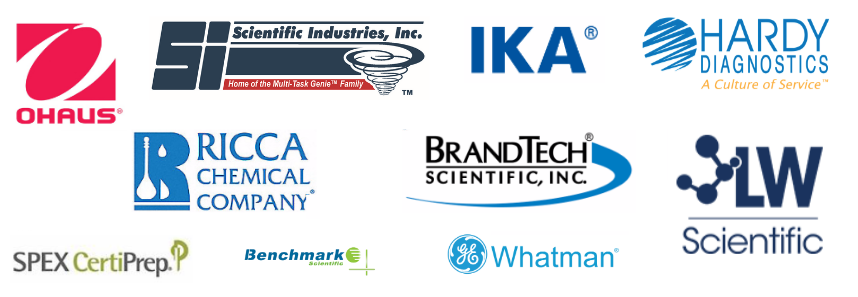 Ohaus, IKA, Whatman, Benchmark Scientific, Scientific Industries, BrandTech, Hardy Diagnostics, Ricca, and Spex CertiPrep Brand Logos
